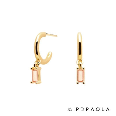 PD PAOLA 西班牙輕奢時尚品牌 Peach Alia 蜜桃愛戀鍍18K金鋯石耳環