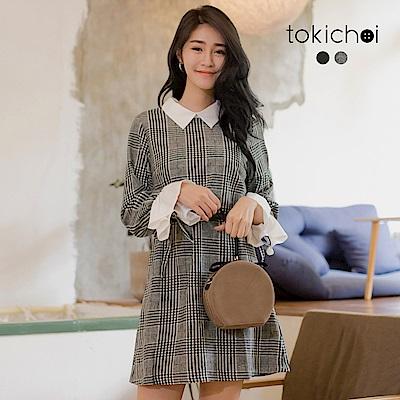 東京著衣 清新學院格紋袖口鬆緊綁帶襯衫洋裝-S.M(共二色)