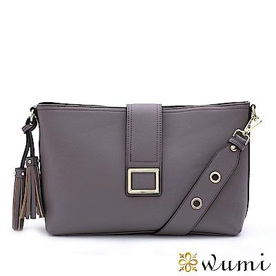 WuMi 無米 克莉絲汀流蘇方釦包 煙燻紫