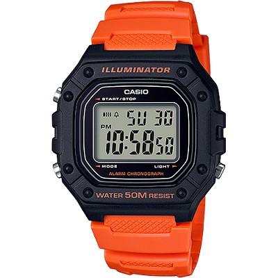 CASIO 復古帥氣方形數位電子錶-黑X橘(W-218H-4B2)/26mm