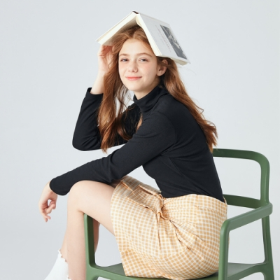 SEMIR森馬-修身基本款高領針織衫-女