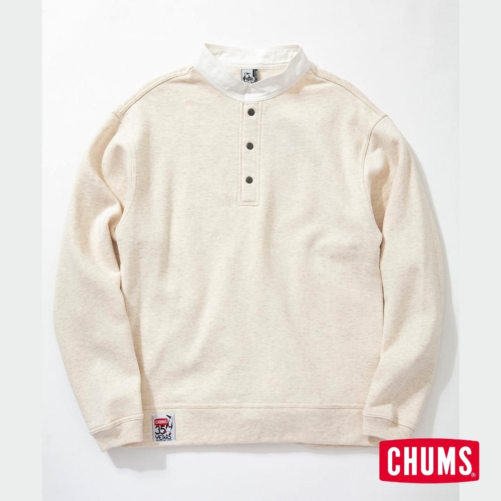 CHUMS 日本 男 35周年紀念半開套頭衫 Boobies 米