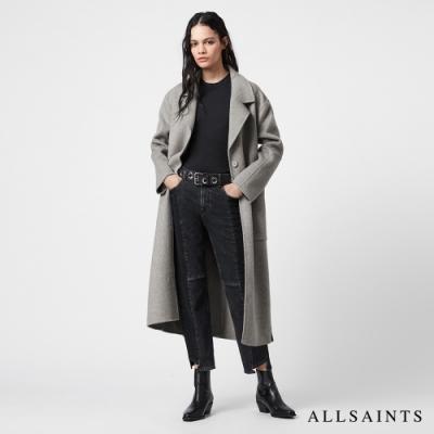 ALLSAINTS HAZEL 純粹俐落無襯素面羊毛混紡綁帶大衣-銀灰