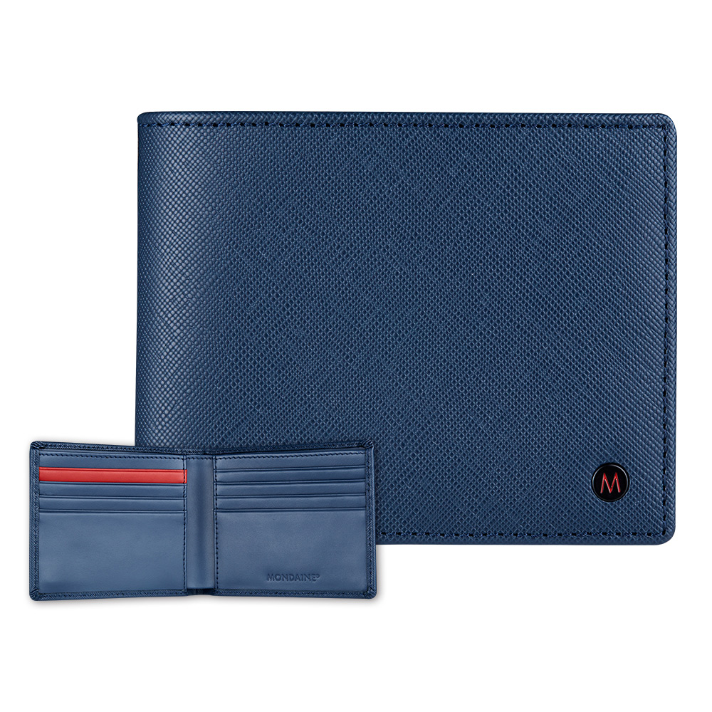 MONDAINE 瑞士國鐵國徽系列十字紋牛皮8卡短夾-藍 @ Y!購物
