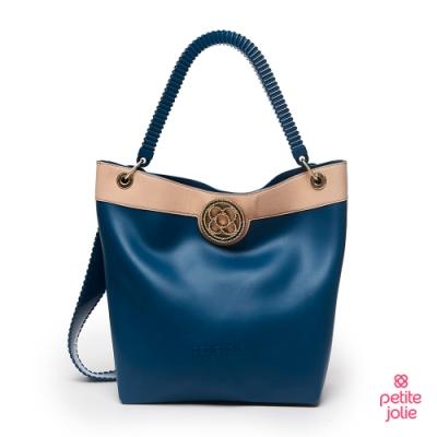 Petite Jolie-經典徽章撞色果凍托特包-蔚藍/粉膚