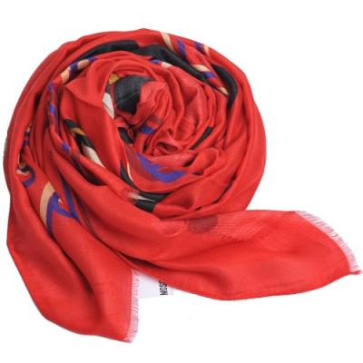 MOSCHINO 品牌音樂TOY小熊LOGO義大利製羊毛混莫代爾披肩/圍巾(紅色系)