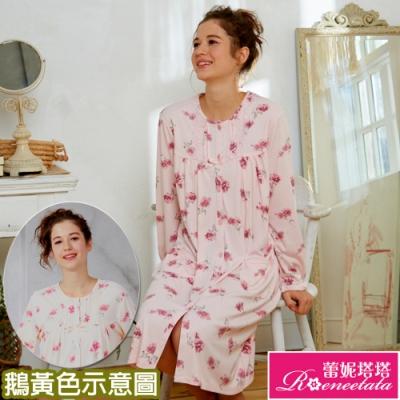 睡衣 針織棉長袖連身睡衣(R85207愛戀花兒) 蕾妮塔塔