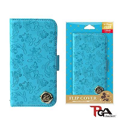 iPhone XS/X 5.8吋 迪士尼 金箔壓花 皮套-米奇(藍)