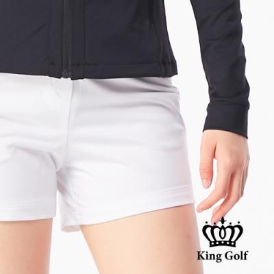 【KING GOLF】素色織帶休閒口袋短褲-白色