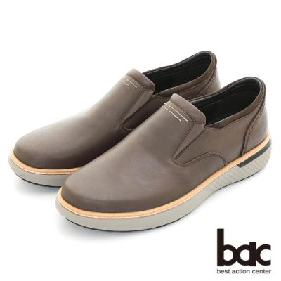 【bac】 陽光型男 簡約設計真皮休閒鞋-咖啡色