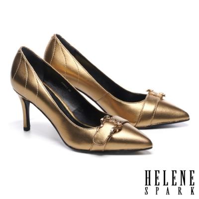 高跟鞋 HELENE SPARK摩登時髦造型飾扣羊皮尖頭高跟鞋-古銅