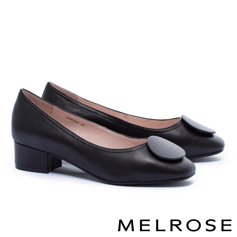 高跟鞋 MELROSE 復古典雅質感圓釦羊皮方頭粗跟高跟鞋-黑