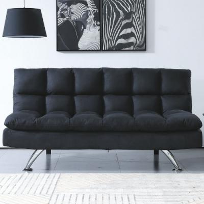 文創集 亞倫 現代黑棉麻布機能沙發/沙發床(展開分段式沙發/沙發床二用設計)-178x105x40cm免組