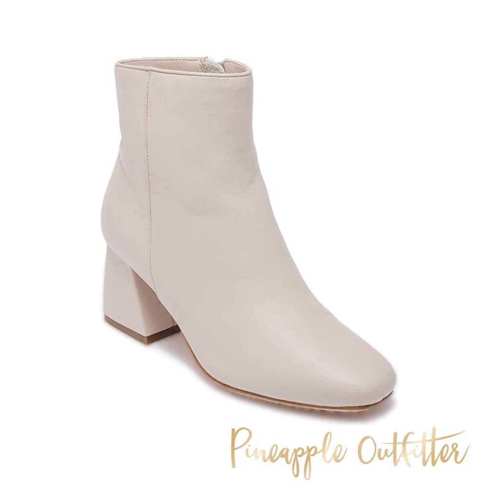 Pineapple Outfitter-BARKE 真皮經典拉鍊粗跟短靴-白色