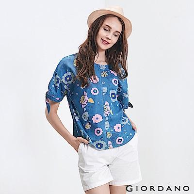 GIORDANO 女裝牛仔綁袖寬版T恤-75 淺藍