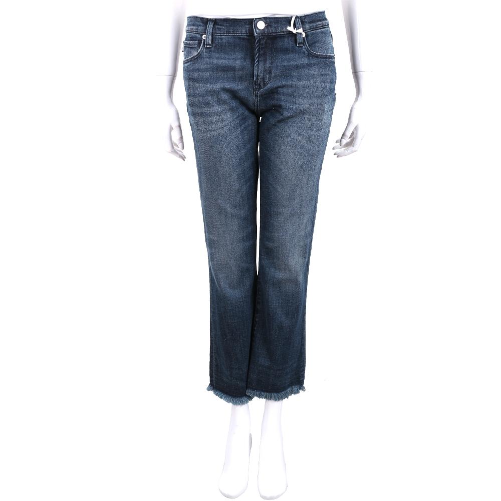 LOVE MOSCHINO 刺繡字母貼飾藍刷色鬚邊九分褲
