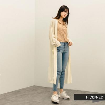 H:CONNECT 韓國品牌 女裝 -柔軟純色開襟針織外套-卡其色