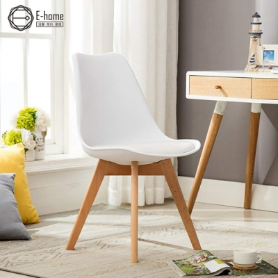 北歐經典造型軟墊櫸木腳餐椅-四色
