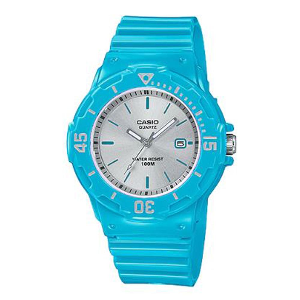 CASIO簡約錶盤潛水風指針運動錶(LRW-200H-2E3)銀面x天空藍/32mm @ Y!購物