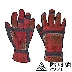 【ATUNAS 歐都納】女款復刻古著保暖刷毛手套 A1-A1640 咖啡/柑格