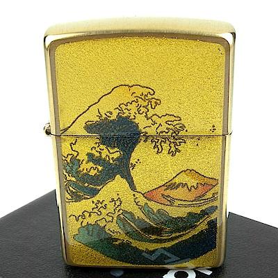 ZIPPO 日系~富士山與海浪-金箔和柄加工打火機