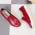 KEITH-WILL時尚鞋館 時尚潮流防水防滑懶人平底雨鞋-紅色