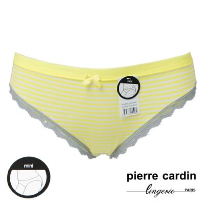 女內褲_皮爾卡登_低腰條紋蕾絲花邊三角褲(單件-NYW鵝黃)