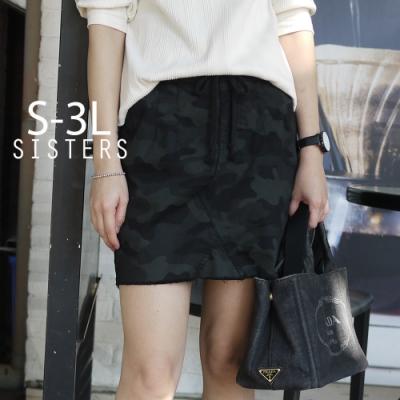 SISTERS 高含棉迷彩彈力褲裙短裙/S-3L