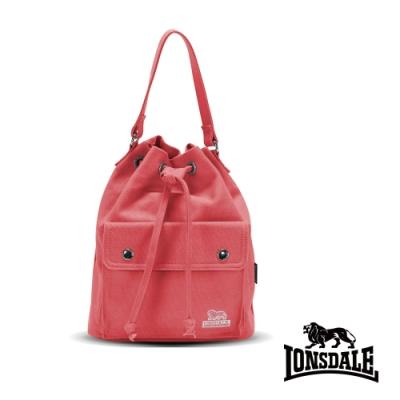 福利品【LONSDALE】英國60周年經典小獅包-3way束繩後背包-莓紅