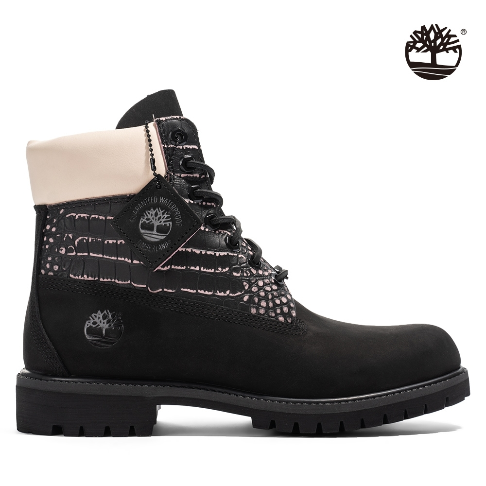Timberland 男款黑撞粉色磨砂革六吋靴 A2JCK