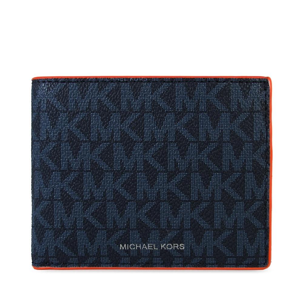 MICHAEL KORS Cooper 銀字Logo滿版防潑水MK橘紅滾邊雙折對開式短夾(深藍色)