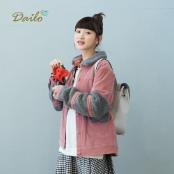 【Dailo】偷吃貓咪鋪棉厚-外套(四色)