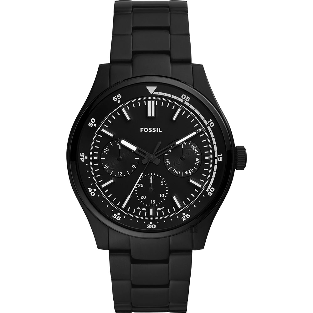 FOSSIL Belmar 當代時尚運動風日曆手錶-黑/44mm FS5576