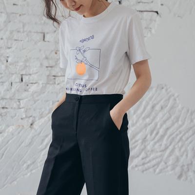 REESE 俏皮橘子圓領T shirt  白