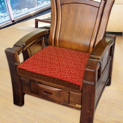 凱蕾絲帝 高支撐記憶聚合緹花坐墊/沙發墊/實木椅墊54x56cm-如意紅(二入)