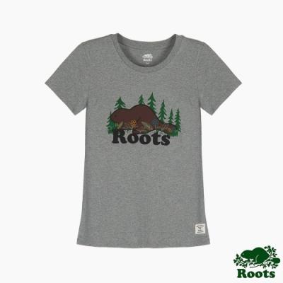 Roots 女裝- 環保有機棉系列 森林元素修身短袖T恤-灰色