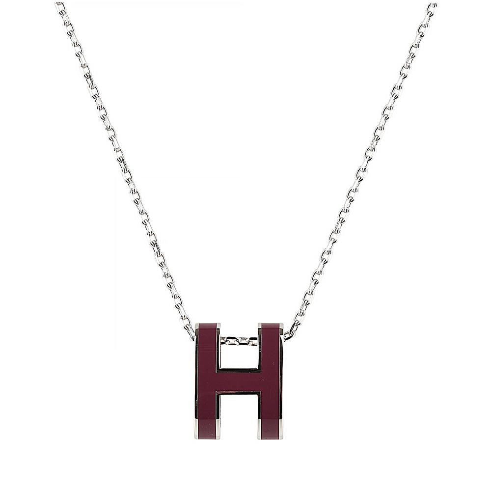 HERMES愛馬仕POP經典H字母立體簍空橢圓LOGO鎖骨項鍊(酒紅x銀)