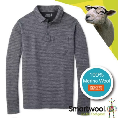 SmartWool 男 美麗諾羊毛 長袖鈕扣門襟保暖上衣_條紋灰