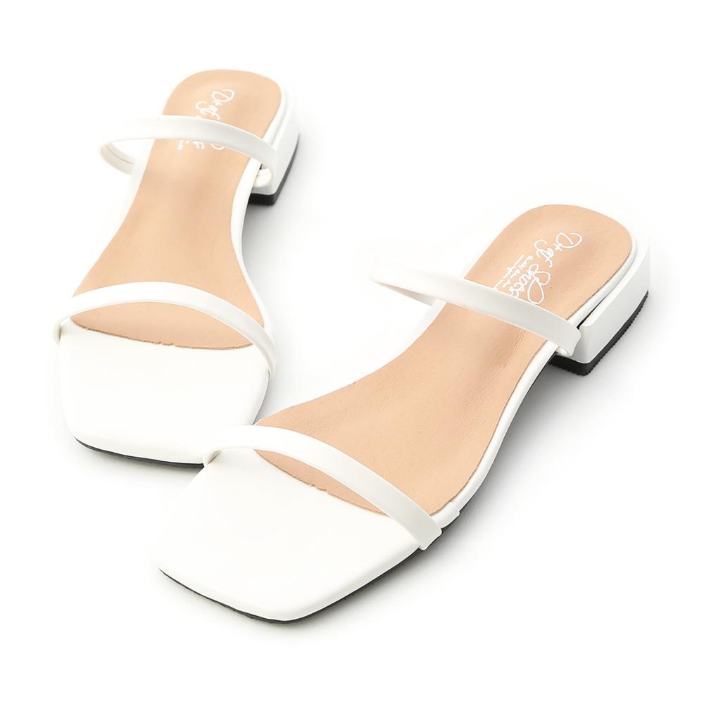 D+AF 簡約印象.一字雙帶方頭涼拖鞋*白