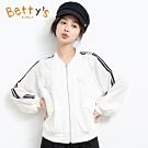 betty's貝蒂思 蕾絲壓花雪紡袖外套(白色)