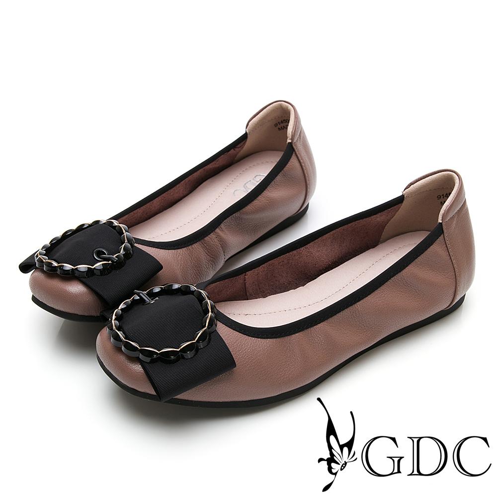 GDC-素面基本簡約蝴蝶結圓圈釦飾平底舒適包鞋-豆沙色