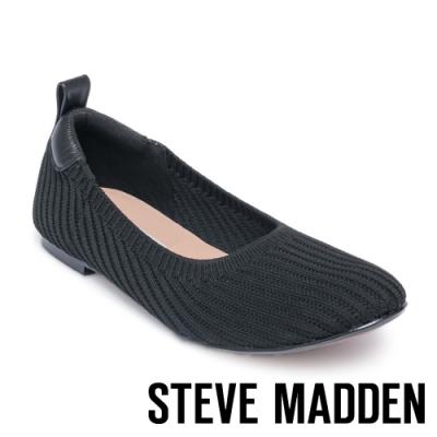 STEVE MADDEN-ELAINE 氣質款 彈性針織拼接平底鞋-黑色