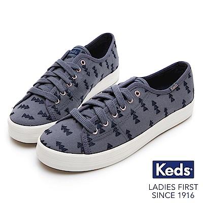 Keds KICKSTART 森林刺繡綁帶休閒鞋-藍色