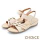 CHOiCE 細緻牛皮造型鬆緊帶涼鞋 杏色 product thumbnail 1
