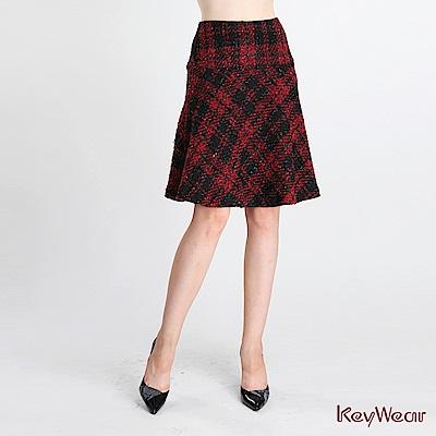 KeyWear奇威名品    中庸格紋修身裙-紅色