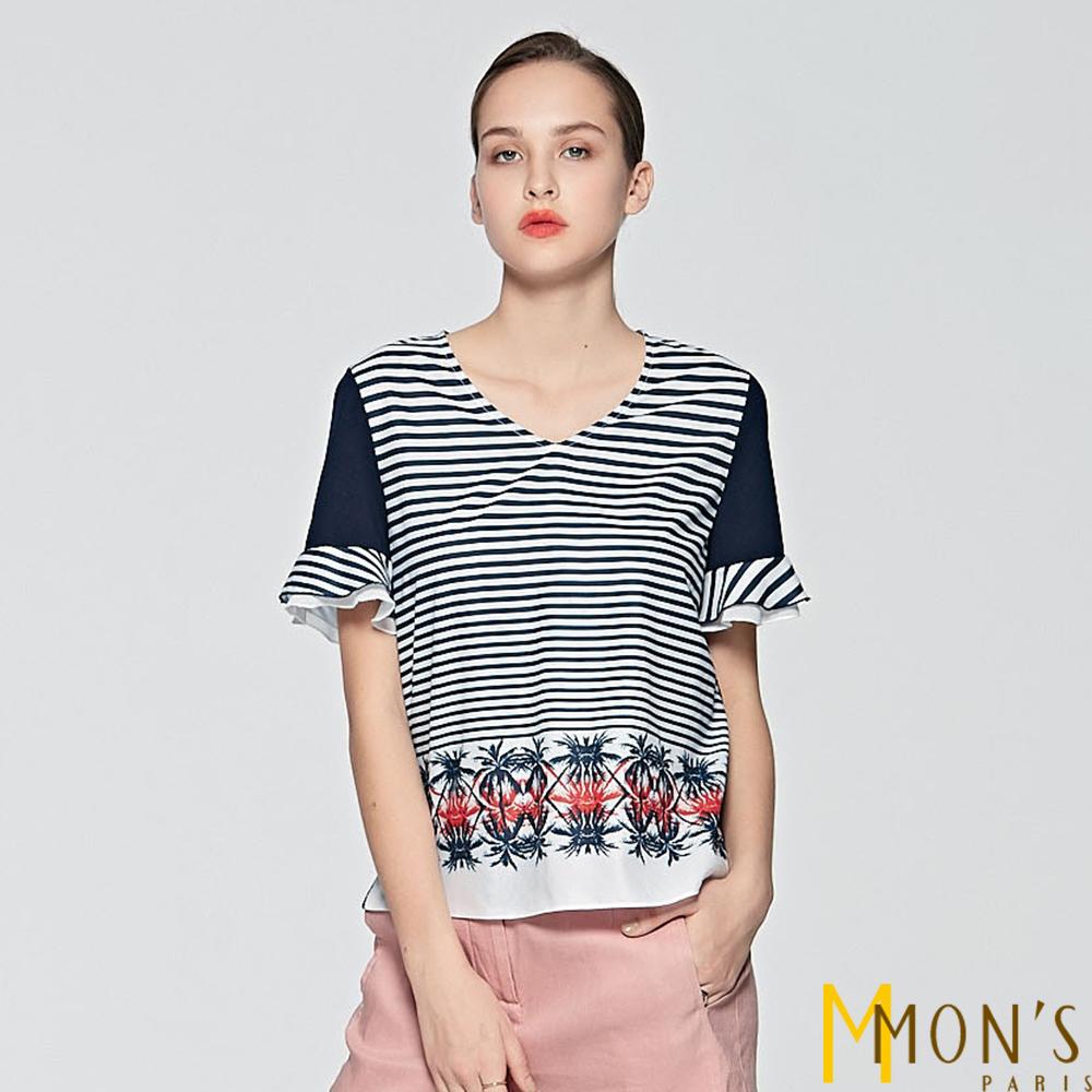 MONS 異材質條紋拼接上衣
