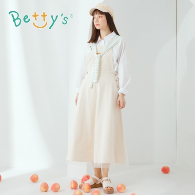 betty's貝蒂思 網紗拼接質感吊帶裙(米白色)