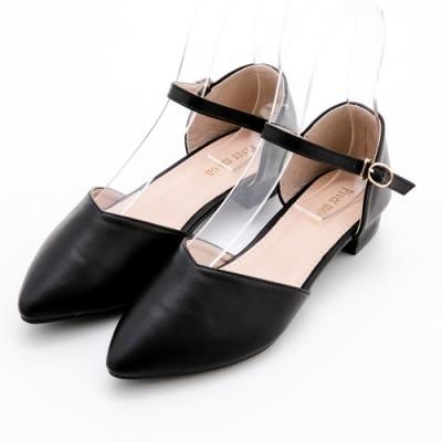 River&Moon法式簡約素面繞踝後包尖頭低跟鞋 黑