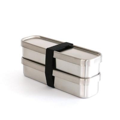 日本製 AIZAWA/相澤工房 經典雙層不鏽鋼便當盒 附束帶 350mlx2