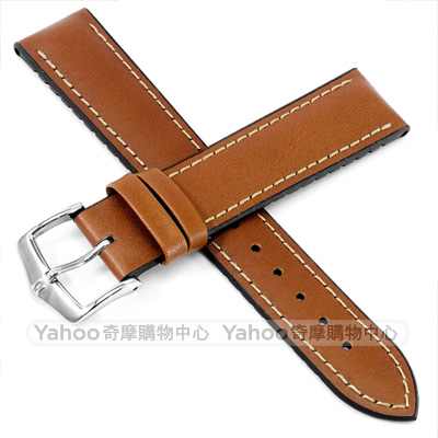 海奕施 HIRSCH James L 300米防水 小牛皮橡膠錶帶-棕